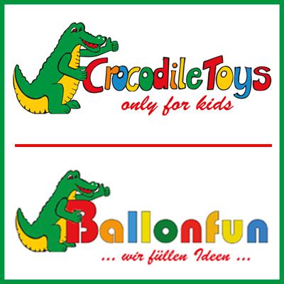 Logo Spielwarenfachgeschäft Crocodile Toys & Ballonshop Ballonfun